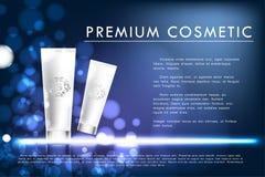 Manifesto cosmetico del prodotto, progettazione di pacchetto bianca della bottiglia Fotografie Stock