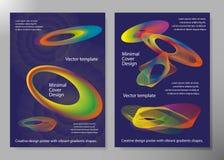 Manifesto creativo di progettazione con le forme vibranti di pendenze Ambiti di provenienza minimi del brigth per l'aletta di fil Immagini Stock