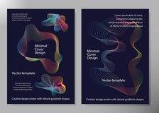 Manifesto creativo di progettazione con le forme vibranti di pendenze Ambiti di provenienza minimi del brigth per l'aletta di fil Immagini Stock Libere da Diritti