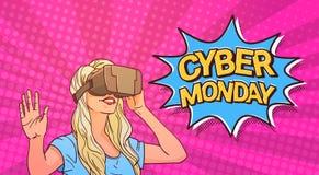 Manifesto cyber di lunedì con la donna che indossa l'insegna comica del messaggio di vendita di vetro di realtà virtuale 3d con P Fotografia Stock Libera da Diritti