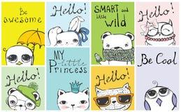 Manifesto d'annata con il gatto alla moda, il gufo, l'orso, l'uccello, il coniglio ed i testi disegnati a mano royalty illustrazione gratis