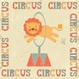 Manifesto d'annata del circo con il leone Fotografia Stock Libera da Diritti