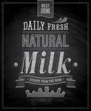 Manifesto d'annata del latte - lavagna. Immagini Stock