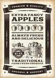 Manifesto d'annata del raccolto della mela Fotografia Stock