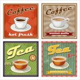 Manifesto d'annata del tè e del caffè Immagini Stock Libere da Diritti