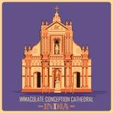 Manifesto d'annata della cattedrale di immacolata concezione in monumento famoso di Pondicherry dell'India Immagine Stock Libera da Diritti
