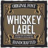 Manifesto d'annata della fonte dell'etichetta del whiskey Fotografia Stock