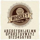 Manifesto d'annata della fonte dell'etichetta del whiskey Fotografia Stock Libera da Diritti
