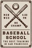 Manifesto d'annata della scuola di baseball, modello, insegna nel retro stile Fotografia Stock