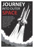 Manifesto d'annata dello spazio con la navetta royalty illustrazione gratis
