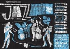 Manifesto d'annata di festival di jazz di stile Fotografia Stock