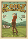 Manifesto d'annata di golf Fotografia Stock Libera da Diritti