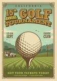 Manifesto d'annata di golf Fotografie Stock