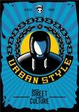 Manifesto d'annata di modo della via per il negozio di vestiti Stile urbano del ghetto Siluetta del rapper royalty illustrazione gratis