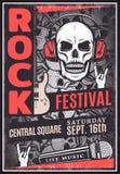 Manifesto d'annata di pubblicità di festival di musica rock illustrazione di stock