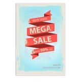 Manifesto d'annata di vendita, aletta di filatoio con l'insegna del nastro Fotografia Stock Libera da Diritti