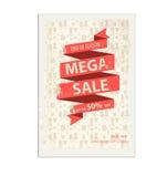 Manifesto d'annata di vendita, aletta di filatoio con l'insegna del nastro Fotografie Stock