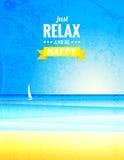 Manifesto d'annata di vettore con il paesaggio del mare Immagine Stock