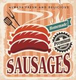 Manifesto d'annata di vettore delle salsiccie Fotografia Stock
