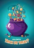 Manifesto d'annata di vettore di Halloween Trucco o ossequio Calderone e dolci magici Fotografia Stock Libera da Diritti