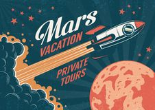 Manifesto d'annata - il razzo vola al pianeta Marte illustrazione di stock