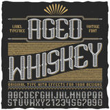 Manifesto d'annata invecchiato dell'etichetta del whiskey Fotografie Stock