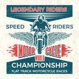 Manifesto d'annata per il club dei motociclisti Illustrazione di viaggio di lerciume di vettore del motociclo Fotografie Stock Libere da Diritti