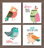 Manifesto degli uccelli del fumetto illustrazione vettoriale