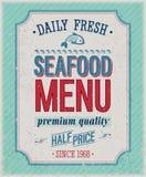 Manifesto dei frutti di mare dell'annata. Fotografia Stock