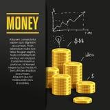 Manifesto dei soldi o modello di progettazione dell'insegna Immagini Stock Libere da Diritti