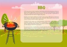 Manifesto del BBQ con l'illustrazione di vettore del testo della natura Fotografia Stock