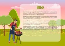 Manifesto del BBQ con l'illustrazione di vettore del testo e del cuoco unico Immagine Stock
