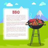 Manifesto del BBQ e montagne, illustrazione di vettore Immagini Stock