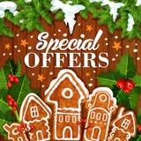 Manifesto del biscotto di promo di vettore di vendita di festa di Natale royalty illustrazione gratis