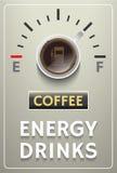 Manifesto del caffè con il calibro delle bevande di energia Royalty Illustrazione gratis