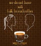 Manifesto del caffè con la siluetta delle coppie che parlano nel caffè ed in nessun messaggio di wifi nel vettore eps10 royalty illustrazione gratis