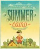 Manifesto del campeggio estivo Fotografia Stock