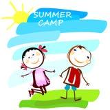 Manifesto del campeggio estivo con i bambini svegli Immagine Stock