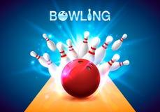Manifesto del club di bowling con i precedenti luminosi illustrazione di stock