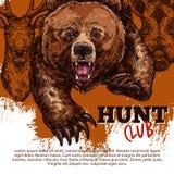 Manifesto del club di caccia con l'orso, cervo, animale del verro illustrazione vettoriale