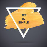 Manifesto del colpo dell'acquerello del triangolo di motivazione Iscrizione del testo di un detto ispiratore Modello tipografico  Immagini Stock
