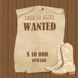 Manifesto del cowboy Fondo ad ovest selvaggio per la vostra progettazione Cowboy Elements Set Fotografia Stock