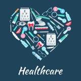 Manifesto del cuore di vettore delle medicine di sanità Fotografia Stock Libera da Diritti