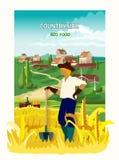 Manifesto del fondo di In The Countryside dell'agricoltore royalty illustrazione gratis