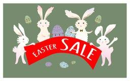 Manifesto del fondo di vendita di Pasqua con la percentuale di sconti e delle uova Coniglio di coniglietto sveglio del fumetto co Fotografia Stock Libera da Diritti