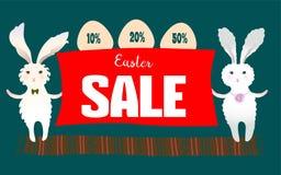 Manifesto del fondo di vendita di Pasqua con la percentuale di sconti e delle uova Coniglio di coniglietto sveglio del fumetto co Fotografia Stock