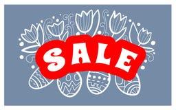 Manifesto del fondo di vendita di Pasqua con la percentuale di sconti e delle uova Vettore Fotografia Stock