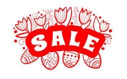 Manifesto del fondo di vendita di Pasqua con la percentuale di sconti e delle uova Vettore royalty illustrazione gratis