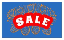Manifesto del fondo di vendita di Pasqua con la percentuale di sconti e delle uova Vettore Fotografia Stock Libera da Diritti