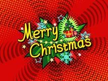 Manifesto del fondo di vettore di Buon Natale, carta di regalo dell'invito di festa, stile del libro di fumetti Fotografia Stock Libera da Diritti